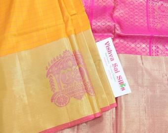 Kanchi Pure Soft Silk Saree: Classic Mustard with Tissue Uppada Style Border Soft Silk with Checks & Chariot Butta