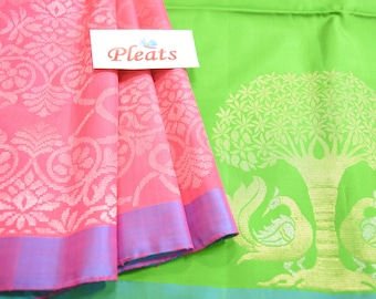 Kanchi Pure Soft Silk Saree:  Partly Saree in Green & Pink. Beautiful Paisley Pattern on Blouse and Pleats