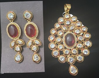 Kundan | Ruby Red with Uncut White Stones | Gold Color Metal