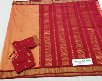 Designer Saree: Semi Silk Cotton with Blouse