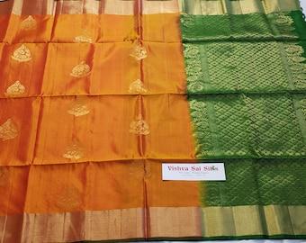 Pure Soft Silk Saree: Golden Orange with Dark Green Pallu & Blouse   Pure   New Color Combination
