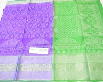 Bridal Soft Silk Saree | Stunning Violet with Rich White Jari Work | Lovely Parrot Green Pallu & Tissue Border