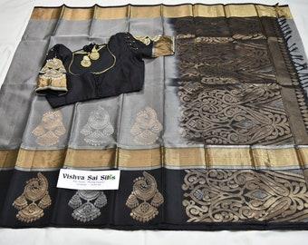 Kanchi Pure Soft Silk Saree: With Handmade Aari Blouse