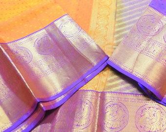 Rich Orangish Mustard with Violet | Classic Traditional | Kanchi Pure Silk Saree |