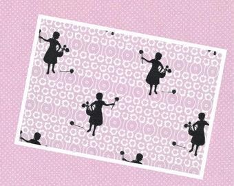 Weimar Westfalenstoff /Meterware / Cotton / Girls Lilac/White / Oeko-Tex® Standard 100