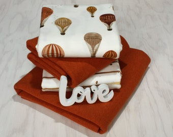 hot air balloon Watercolor cotton jersey *fabric package with summer sweat* mustard/rust/cream 150 cm wide
