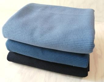 Waffeljersey smoky blue, denim blue, navy * 150 cm wide * 100% cotton * 50 cm steps