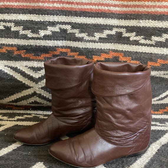 Vintage 80s brown leather slouchy boots