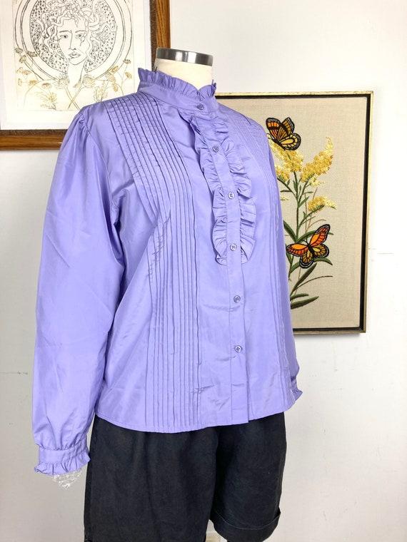 Vintage purple ruffle blouse - image 5