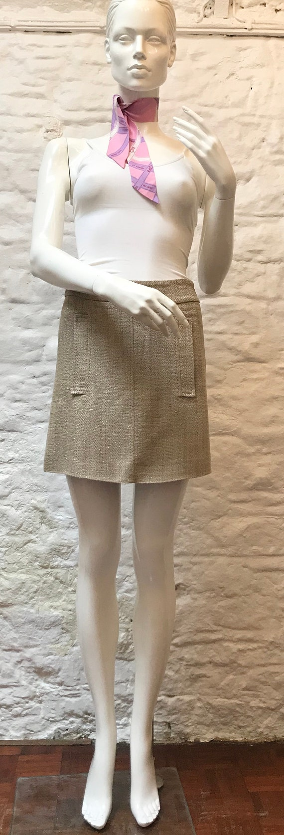 Etro Gold Mini Skirt with Pockets