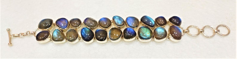 Blue flashy natural Labradorite  cabochon fancy shape stone 925 sterling silver adjustable bracelet