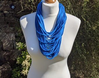 Bright Blue Infinity Scarf,Multi Strand Statement Yarn Necklace
