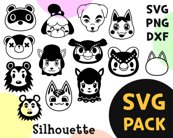 Animal crossing SVG 12 characters silhouette SVG vector | Etsy