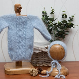 Newborn baby boy hand knitted Short Sleeve  Bodysuit and cap and teddy setRomper Overall  Photography Prop Mohair blend gray