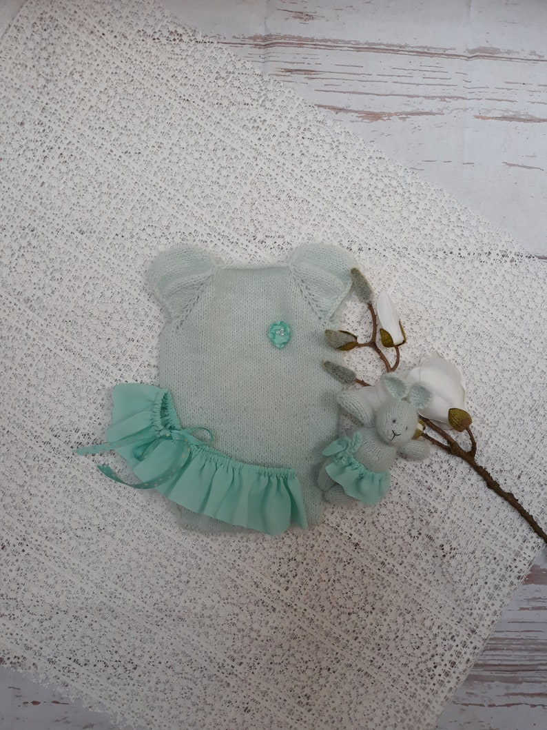 Newborn baby girl hand knitted Short Sleeve Bodysuit and skirt and bunny setRomper Overall  Photography Prop mink yarnmint