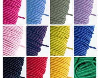 Blau Wolle Halle 10 Meter Gummiband super weich elastisch 3mm Durchmesser Rundgummi Kordel