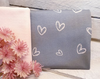 Fabric package sewing package heart touched cotton jersey 50 cm and cuffs 25 cm pink grey jersey hearts girls ladies baby cotton eco-tex 100