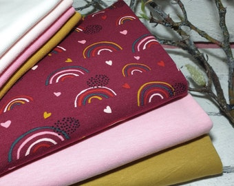 Fabric package sewing package organic cotton jersey from kbA GOTS rainbow berry and uni combi fabric as well as cuffs girl jersey cotton ÖkoTex 100