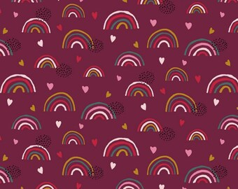 Organic cotton jersey rainbow from kbA GOTS heart berry meterware pink jersey cotton baby kids girl 150 cm fabric width eco-tex 100