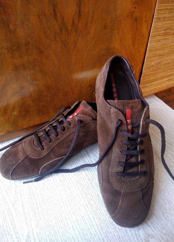 Vintage men's brown suede PRADA shoes, Made in Ita