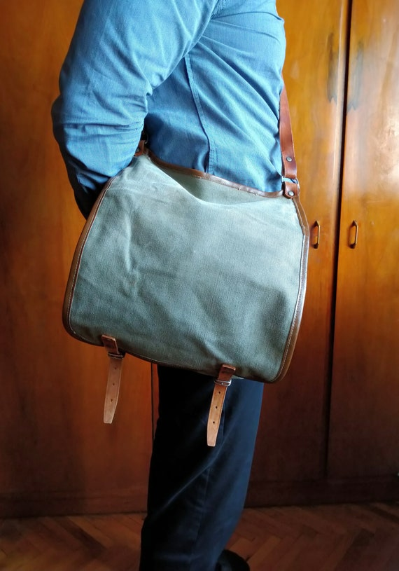 Canvas messenger bag, Military bag, Canvas shoulde