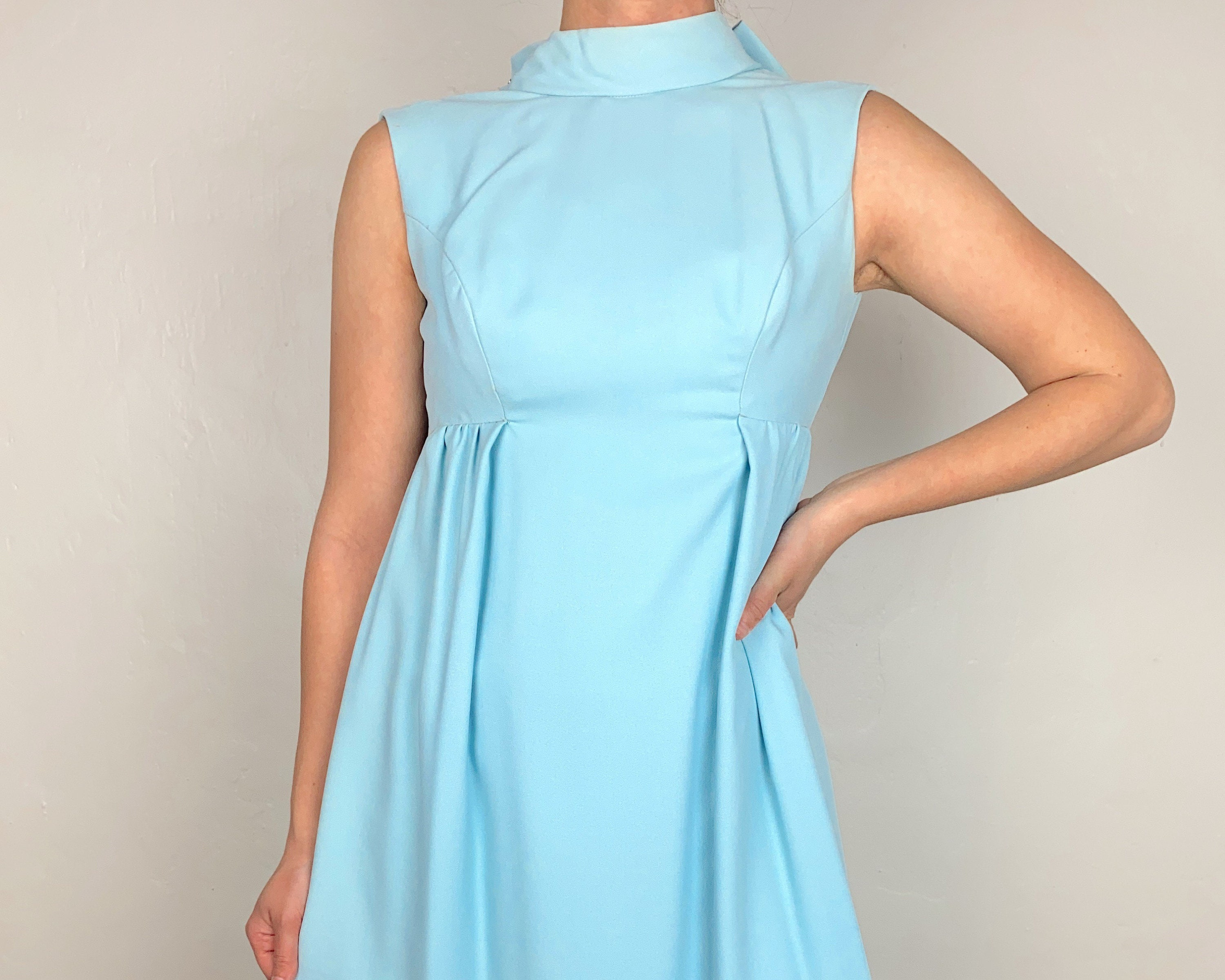 Vintage Scarf Styles -1920s to 1960s Vintage 60S Baby Blue Rayon Maxi Dress with Bowtie On The Back $0.00 AT vintagedancer.com
