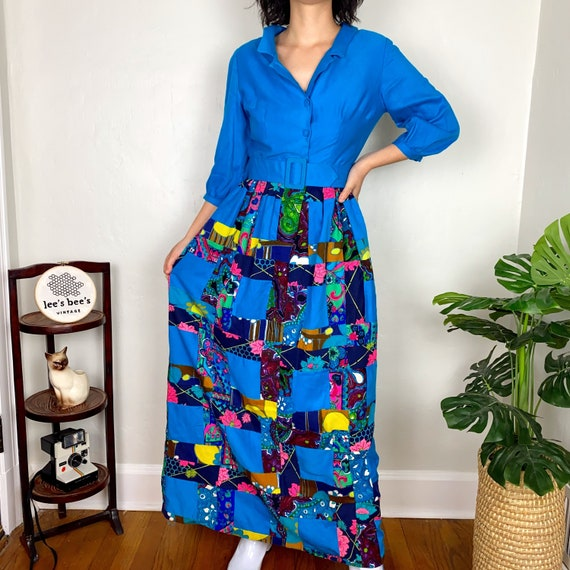 Vintage 1960s/70s Neon Multicolored Patchwork Gro… - image 3