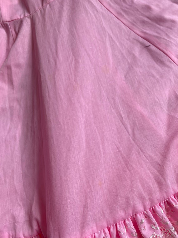Vintage Bubblegum Pink Square Dance Flare Dress - image 8
