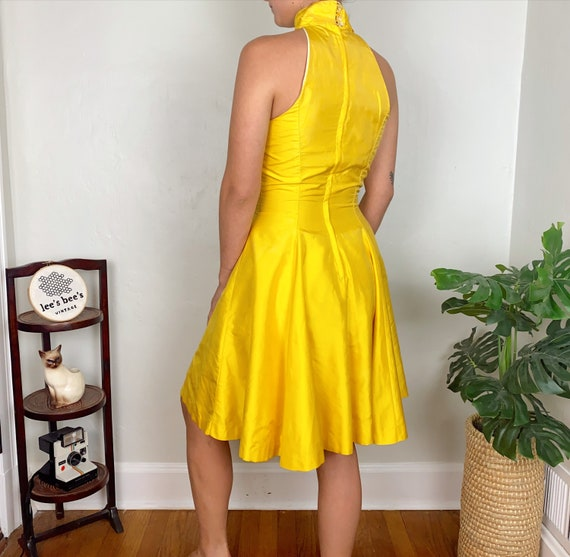 Vintage Late 70s Early 80s Bright Yellow Halter F… - image 3