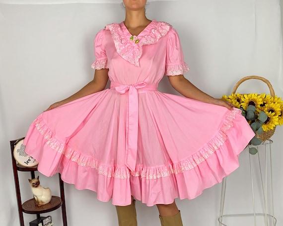 Vintage Bubblegum Pink Square Dance Flare Dress - image 1