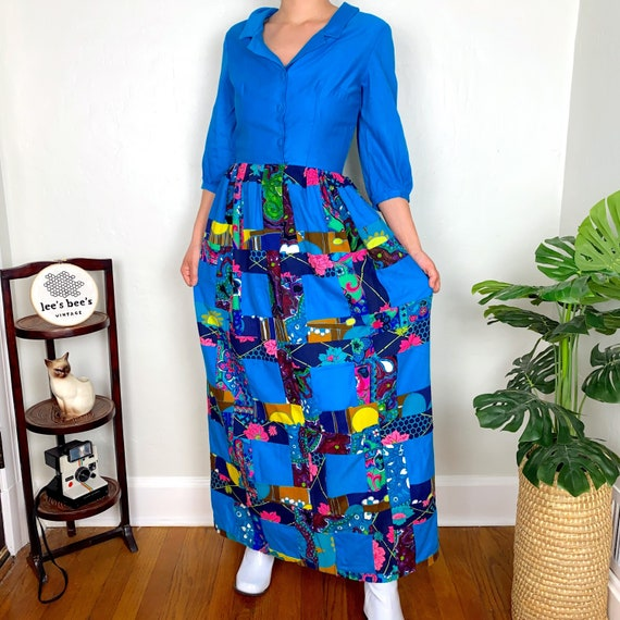 Vintage 1960s/70s Neon Multicolored Patchwork Gro… - image 2