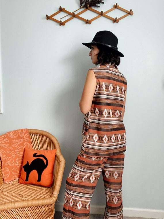 Vintage 60s/70s Polyester Aztec Print Top & Pants… - image 4