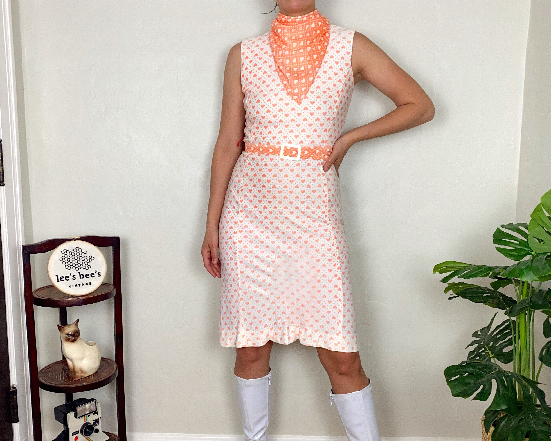 Vintage Scarf Styles -1920s to 1960s Vintage 1960S70S Neon Pink Heart  Polka Dot Soft Polyester Dress with Belt  Scarf $0.00 AT vintagedancer.com