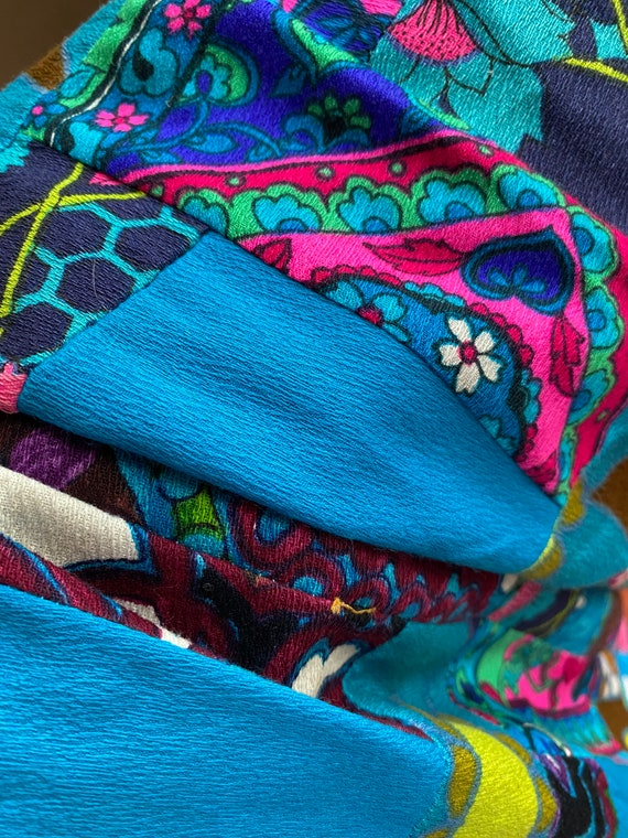 Vintage 1960s/70s Neon Multicolored Patchwork Gro… - image 10