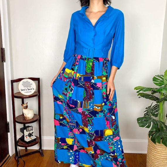 Vintage 1960s/70s Neon Multicolored Patchwork Gro… - image 4