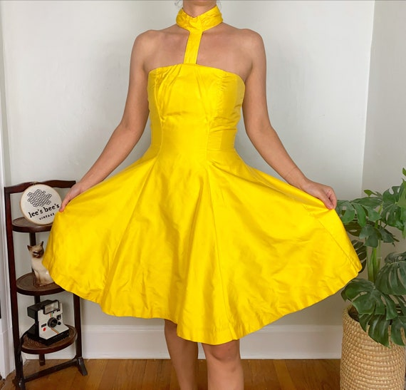 Vintage Late 70s Early 80s Bright Yellow Halter F… - image 5