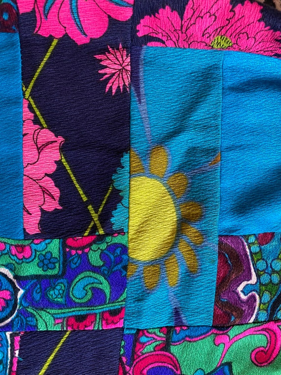 Vintage 1960s/70s Neon Multicolored Patchwork Gro… - image 7