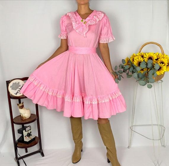 Vintage Bubblegum Pink Square Dance Flare Dress - image 4