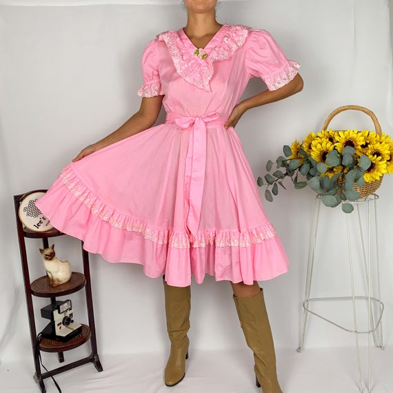 Vintage Bubblegum Pink Square Dance Flare Dress - image 2