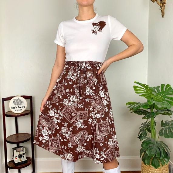 Vintage 1960s/70s Brown Floral Cotton & White Pol… - image 3