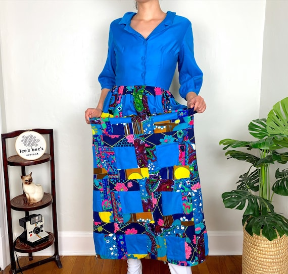 Vintage 1960s/70s Neon Multicolored Patchwork Gro… - image 5