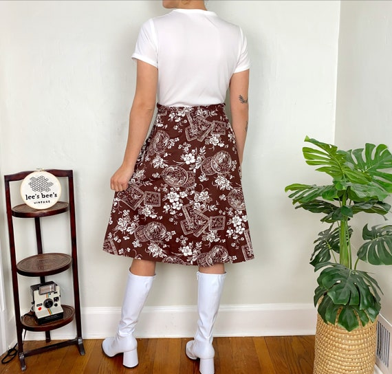 Vintage 1960s/70s Brown Floral Cotton & White Pol… - image 2