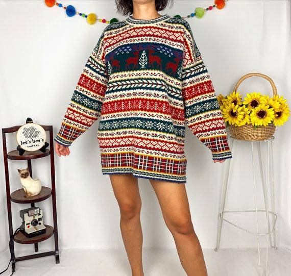 Vintage 90s XXL Oversized Christmas Wool Sweater … - image 3