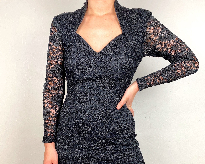 80s Dresses   Casual to Party Dresses Vintage 1980S Black Lace Betsy A Adam Acetate  Nylon Tight Hourglass Shape Little Dress $0.00 AT vintagedancer.com