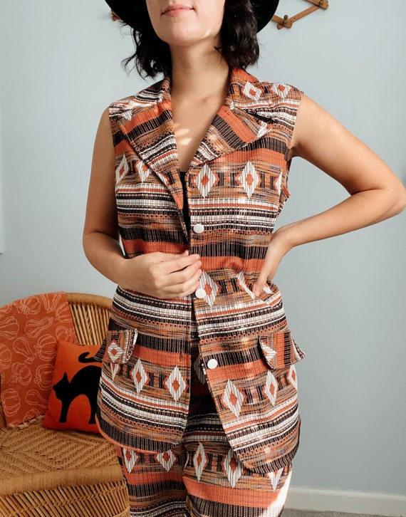 Vintage 60s/70s Polyester Aztec Print Top & Pants… - image 3