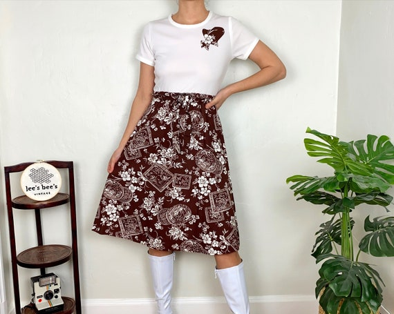 Vintage 1960s/70s Brown Floral Cotton & White Pol… - image 1