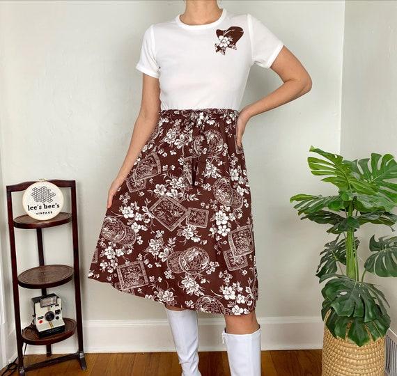 Vintage 1960s/70s Brown Floral Cotton & White Pol… - image 5