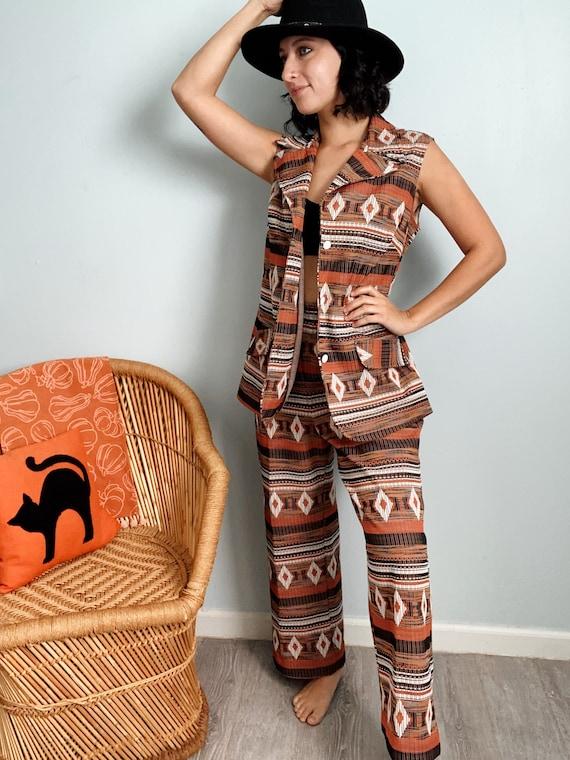 Vintage 60s/70s Polyester Aztec Print Top & Pants… - image 2