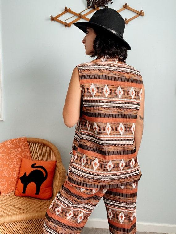 Vintage 60s/70s Polyester Aztec Print Top & Pants… - image 5