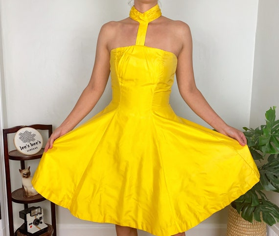 Vintage Late 70s Early 80s Bright Yellow Halter F… - image 1